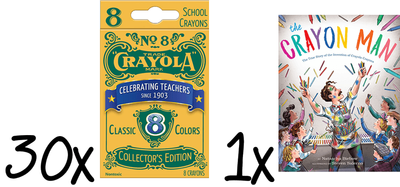 30 sets of Crayola vintage crayons and a copy of Crayon Man: The True Story of the Invention of Crayola Crayons